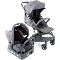 Carrinho Com Bebê Conforto Skill Trio Travel System Grey Denim - Safety 1St