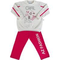 Conjunto Infantil Moleton Girl Az Fashion - Feminino-Pink