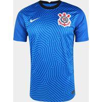 Camisa De Goleiro Corinthians 20/21 S/N° Torcedor Nike Masculina - Masculino-Azul+Branco
