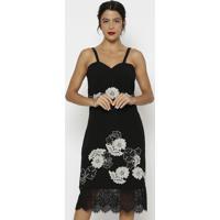 Vestido Com Renda Guipir- Preto & Bege Claro- Nectarnectarina