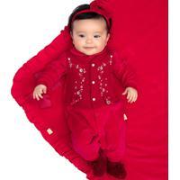 Saída De Maternidade Paraiso Plush Com Matelassê Vermelho - Tricae