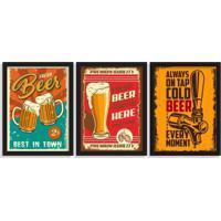 Kit 3 Quadros Decorativos Cervejas Pub Preto - Grande