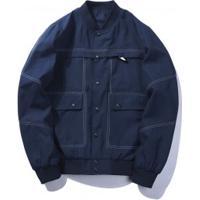 Jaqueta Bomber Masculina Com Bolsos Frontais - Azul Escuro