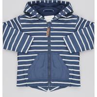 Jaqueta Corta Vento Infantil Listrada Com Fleece Azul Marinho
