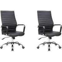 Conjunto Com 2 Cadeiras De Escritório Diretor Cleaner Preto