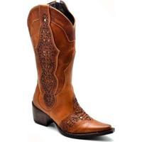 Bota Top Franca Shoes Country - Feminino-Caramelo