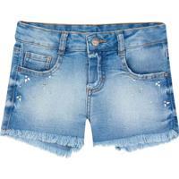 Short Jeans Com Pedrarias- Azul Claro & Azulpuc
