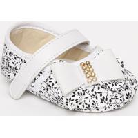 Sapato Boneca Com Laã§Os & Velcro - Branco & Preto- Ttico Baby