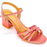 Sandália Vértice Salto Bloco Tira Soft Feminina - Feminino-Pink