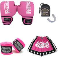 Kit Boxe Muay Thai Fheras Luva + Bandagem + Bucal + Shorts Rosa 08 Oz