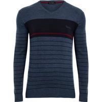 Suéter Azul Listras Localizada