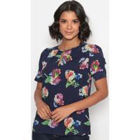 Blusa Floral Com Recortes & Fendas- Azul Marinho & Rosa