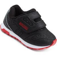 Tênis Infantil No Stress Bb Velcro - Masculino-Preto+Vermelho