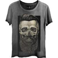 Camiseta Feminina Estonada Gola Canoa Corte A Fio Skull Barber