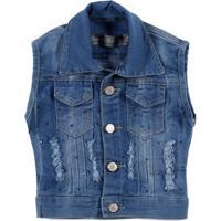 4d07a63f43 Colete Jeans Infantil Para Menina - Azul