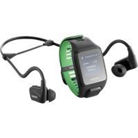 Monitor Cardíaco Com Gps E Fone De Ouvido Tomtom Runner 3 Music - Preto/Verde
