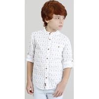 "Camisa Infantil Estampada ""Coqueiros"" Manga Longa Gola Padre Branca"