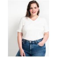 Blusa Básica Em Algodão Com Gola V Curve & Plus Size   Ashua Curve E Plus Size   Branco   Gg