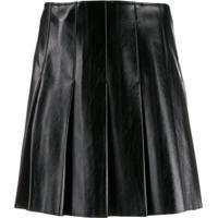 Msgm Matte Pleated Skirt - Preto