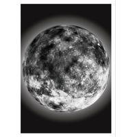 Quadro Decorativo Com Moldura The Moon Preto E Branco (45X32)