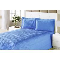 Colcha Clean Casal Azul Com 4 Peças Algodão E Poliester - Aquarela