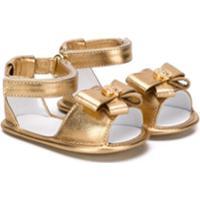Young Versace Sandália Com Aplicação De Laço - Dourado