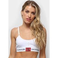 Top Calvin Klein Monogram Mesh Feminino - Feminino-Branco