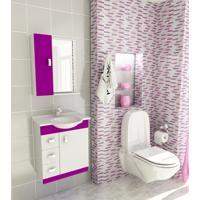 Kit Completo Para Banheiro 60 Cm Com 3 Peças Pratiko Branco E Violeta Tomdo