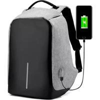 Mochila Thata Esportes Anti-Furto Compartimento Para Notebook Laptop Saída Usb Carregamento De Dispositivos Cinza