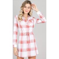 8287135fa CEA; Vestido Chemise Feminino Estampado Xadrez Manga Longa Branco