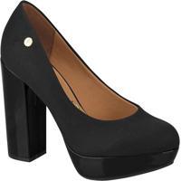 Sapato Meia Pata Com Verniz- Preto- Salto: 11,5Cm