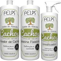 Kit Cachos Azeite De Abacate Felps Ativador 500Ml+Gelatina+Umidificador 500Ml - Tricae