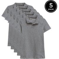 Kit 5 Camisas Polo Basicamente Feminino - Feminino-Cinza