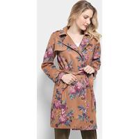 Casaco Sobretudo Lily Fashion Trench Coat Estampado Feminina - Feminino-Caramelo