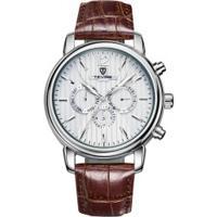 Relógio Tevise 8388 Masculino Automático Pulseira De Couro Marrom - Branco