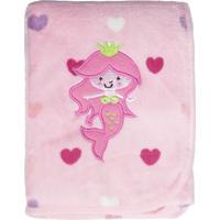 Manta Bebê Microfibra Boradada - Panosul Rosa