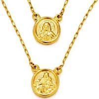 Gargantilha Em Ouro Escapulário Redondo - Gg11253 Casa Das Alianças Feminina - Feminino-Dourado