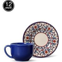 Conjunto 12Pçs Xícaras De Chá Mônaco Turquia Porto Brasil