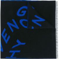 Givenchy Echarpe Com Estampa De Logo E Acabamento Desfiado - Preto