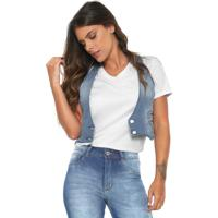 Colete Jeans Biotipo Cropped Azul