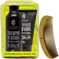 Kit Shampoo De Barba 200Ml + Hidratante De Barba 120G + Pente De Madeira Para Cabelo E Barba - Masculino-Incolor