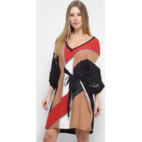 Vestido Forum Blusão Estampa Geométrica Gola V Ampla Faixa - Feminino-Preto+Vermelho