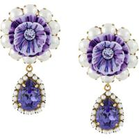 Dolce & Gabbana Par De Brincos Com Detalhe De Flor - Roxo