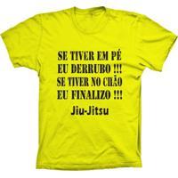 Camiseta Lu Geek Manga Curta Jiu-Jitsu Frase Amarelo