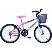 Bicicleta Dalannio Bike Feminina Aro 20 Melissa Com Cestinha Branco E Rosa