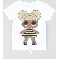 Blusa Infantil Lol Surprise! Com Nó Manga Curta Off White