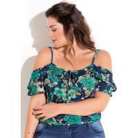 Blusa Ombros Vazados Floral Azul Plus Size