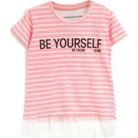 Blusa Calvin Klein Kids Listrada Rosa