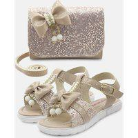 Sandália Mz Shoes Com Bolsa Carteira Menina Infantil Laço Pérolas Nude/Glitter