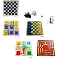 Jogos 5 Em 1 - Dama, Trilha, Ludo, Xadrez E Dominó Jogo Educativo Pedagógico